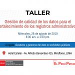 Taller Gestión de calidad de los datos para el fortalecimiento de los registros administrativos