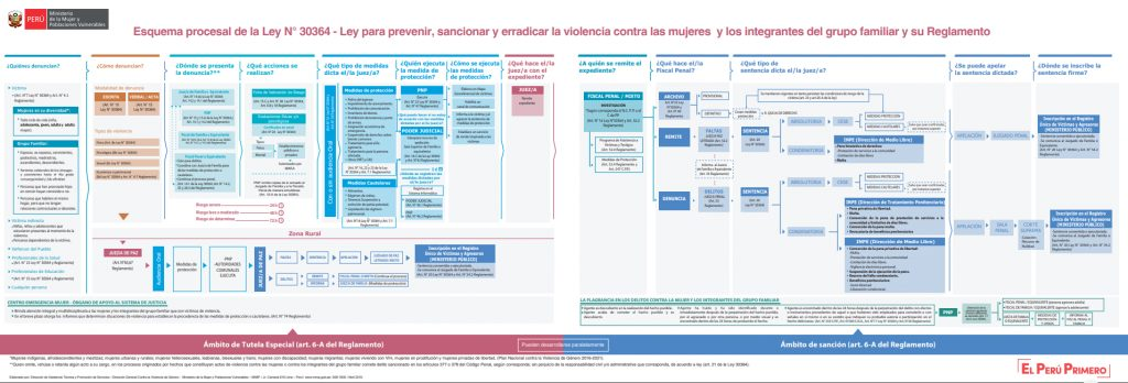 """Flujograma de la Ley 30364 con las últimas modificatorias que muestra los ámbitos de """"Tutela Especial y Sanción"""" frente a la violencia contra la mujer y los integrantes del grupo familiar."""